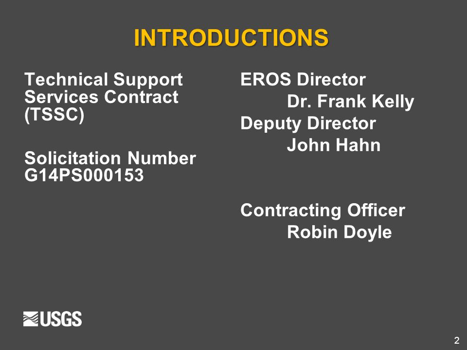 INTRODUCTIONS Technical Support Services Contract (TSSC)