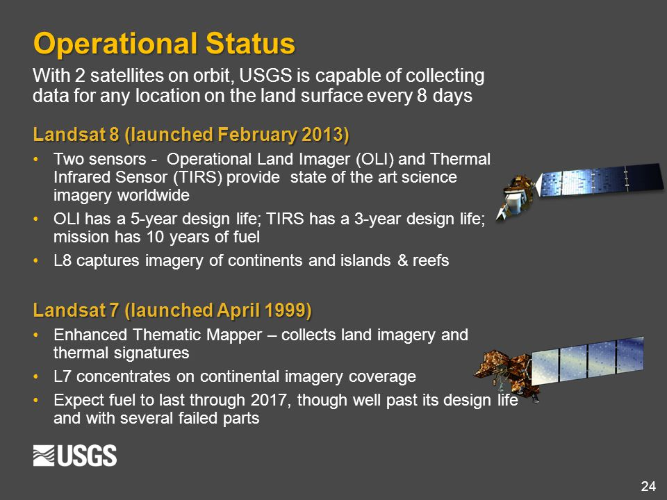 Operational Status With 2 satellites on orbit, USGS is capable of collecting data for any location on the land surface every 8 days.