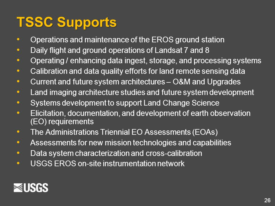 TSSC Supports Operations and maintenance of the EROS ground station