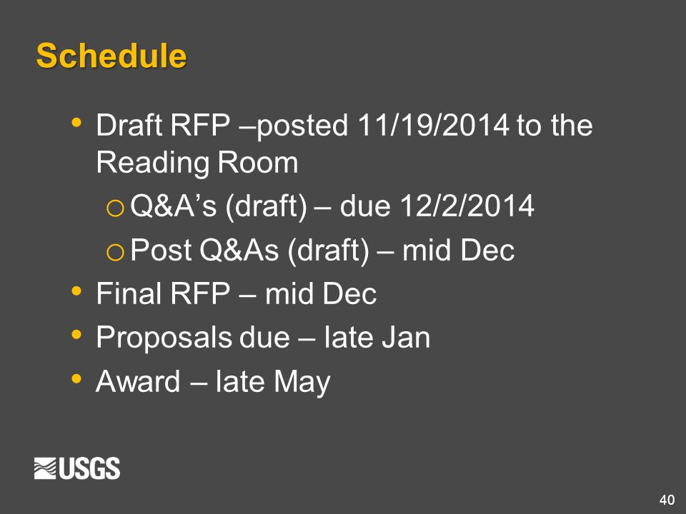 Schedule Draft RFP –posted 11/19/2014 to the Reading Room