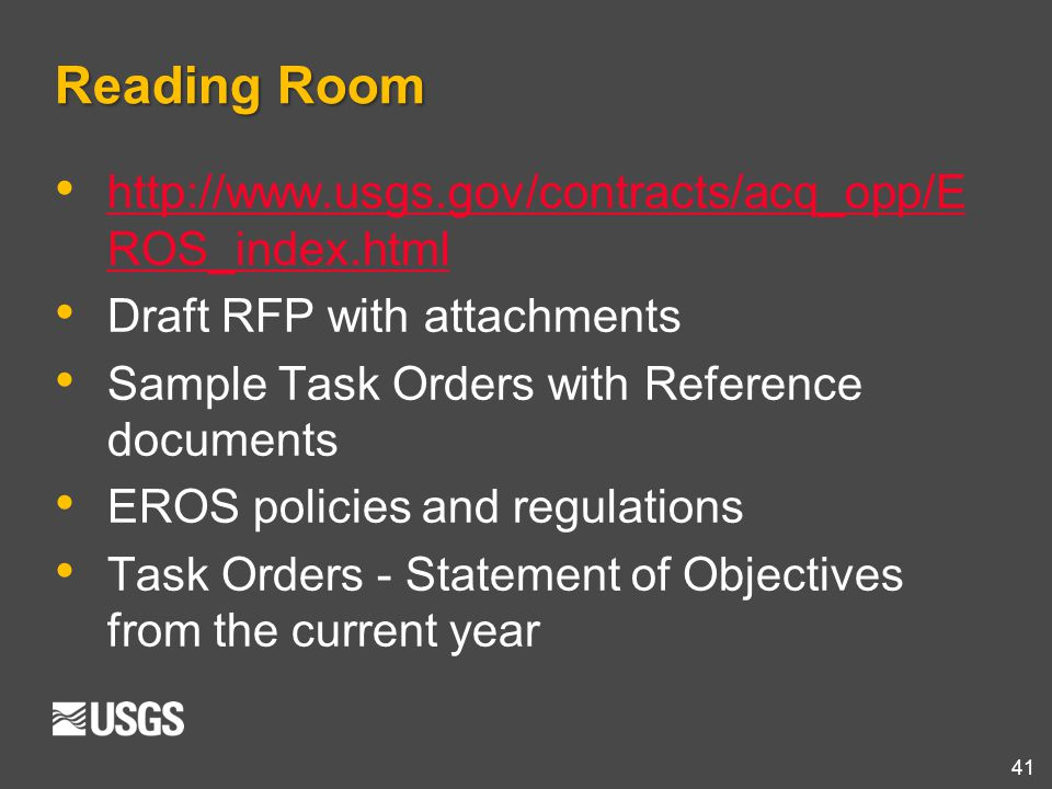 Reading Room http://www.usgs.gov/contracts/acq_opp/EROS_index.html