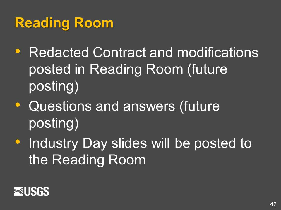 Reading Room Redacted Contract and modifications posted in Reading Room (future posting) Questions and answers (future posting)