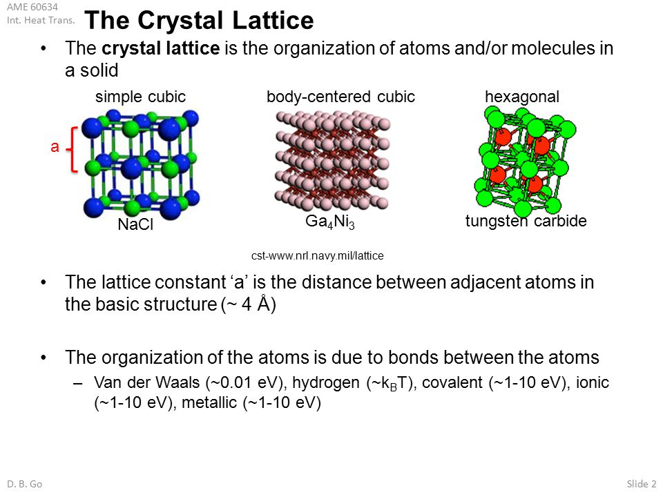 The Crystal Lattice The crystal lattice is the organization of atoms and/or molecules in a solid.