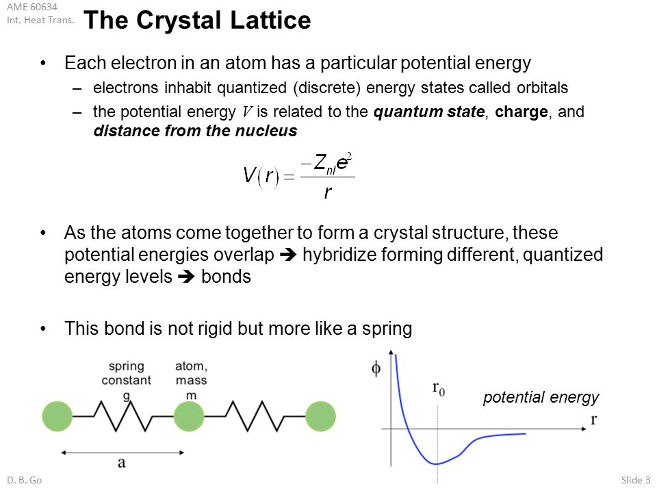 The Crystal Lattice Each electron in an atom has a particular potential energy. electrons inhabit quantized (discrete) energy states called orbitals.