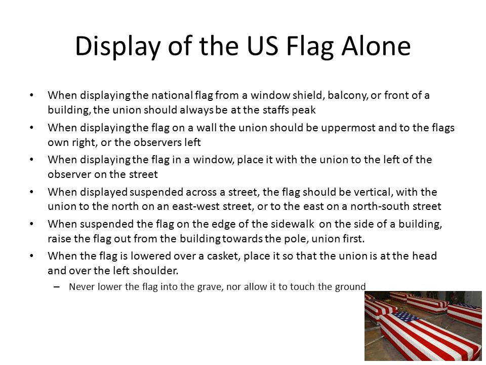 Display of the US Flag Alone