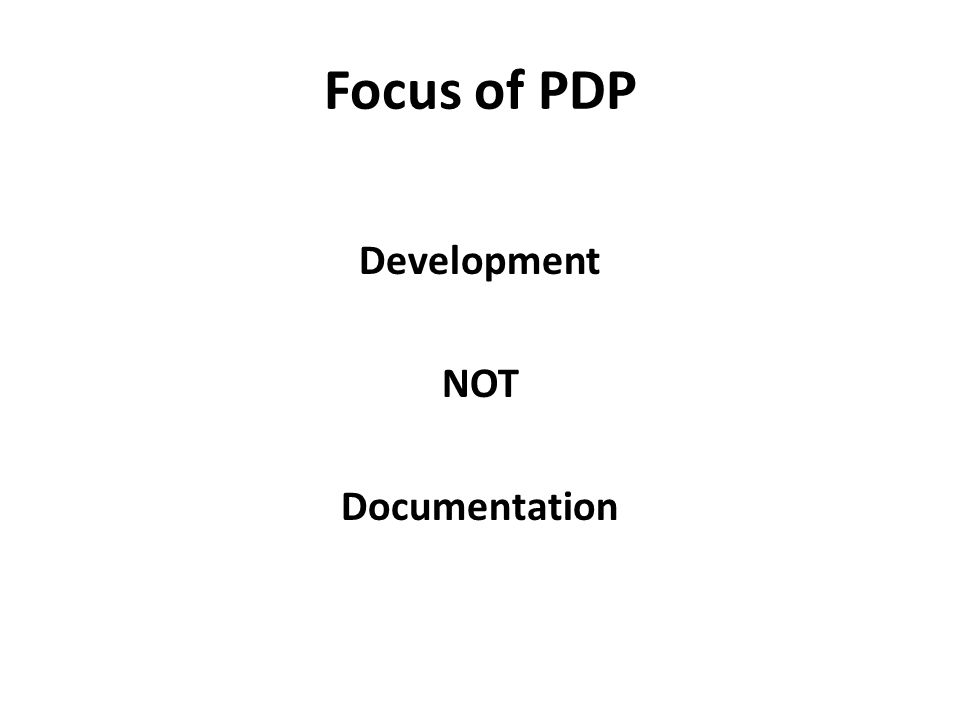 Development NOT Documentation