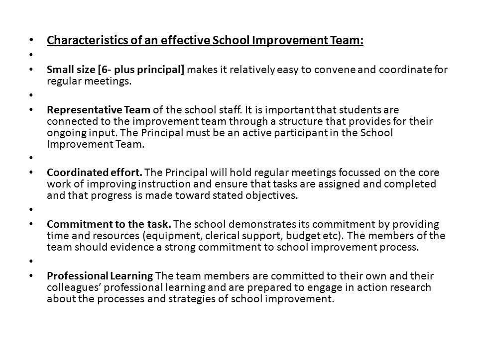 Characteristics of an effective School Improvement Team: