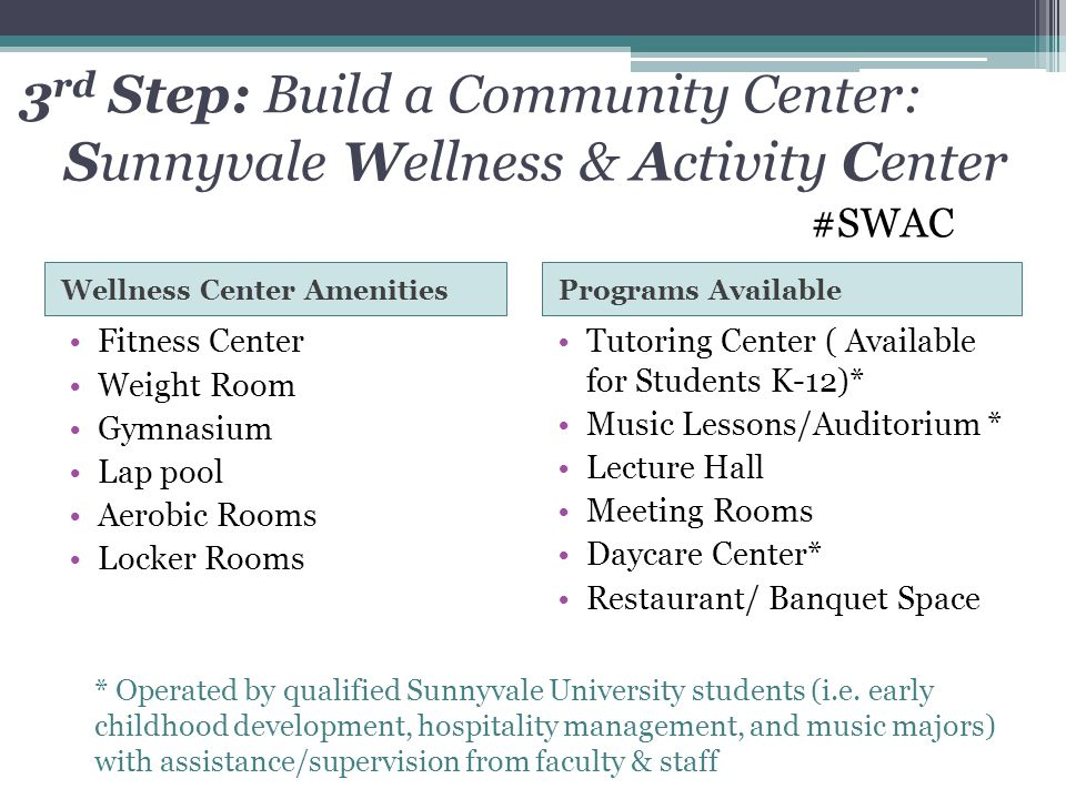 3rd Step: Build a Community Center: