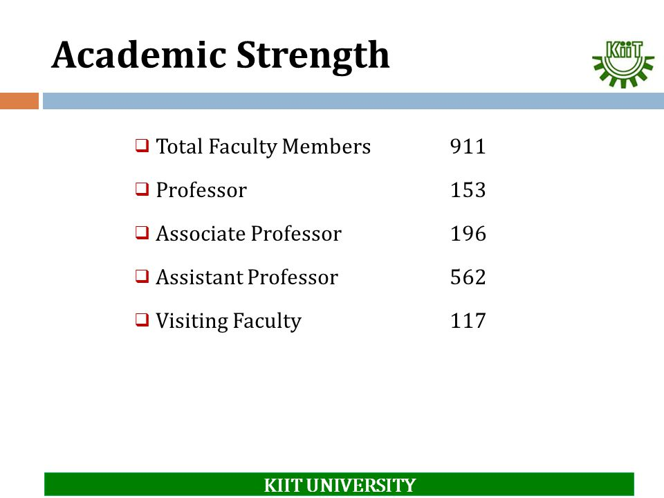 Academic Strength Total Faculty Members 911 Professor 153