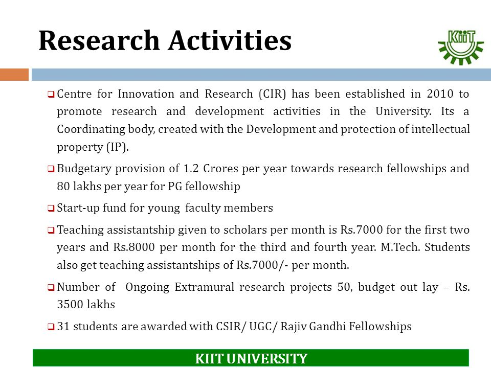 Research Activities KIIT UNIVERSITY