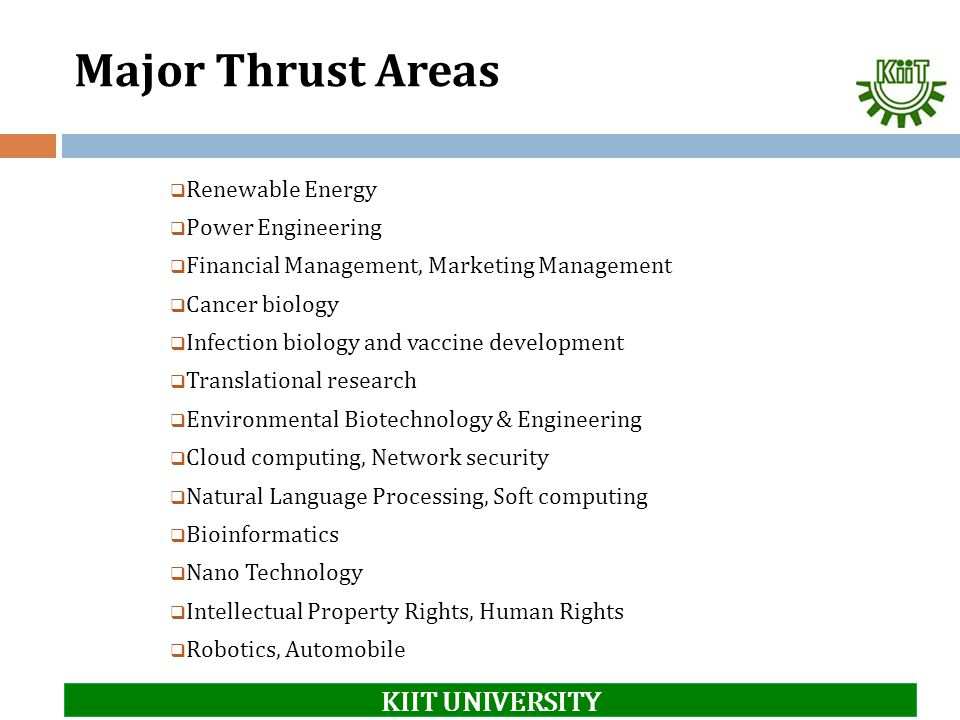 Major Thrust Areas KIIT UNIVERSITY Renewable Energy Power Engineering