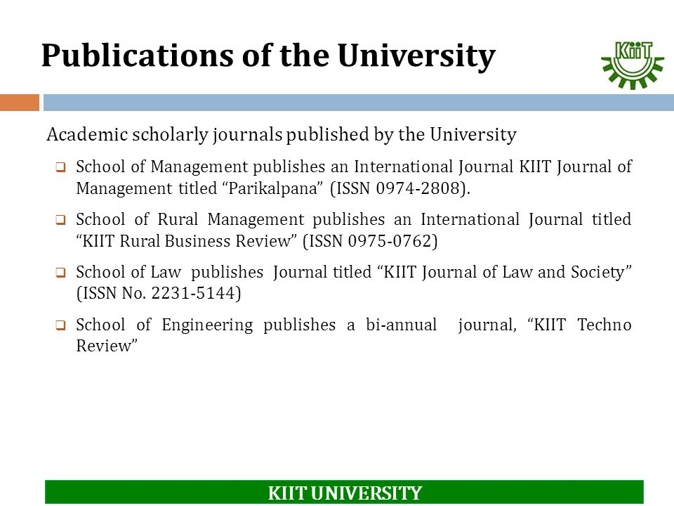 Publications of the University
