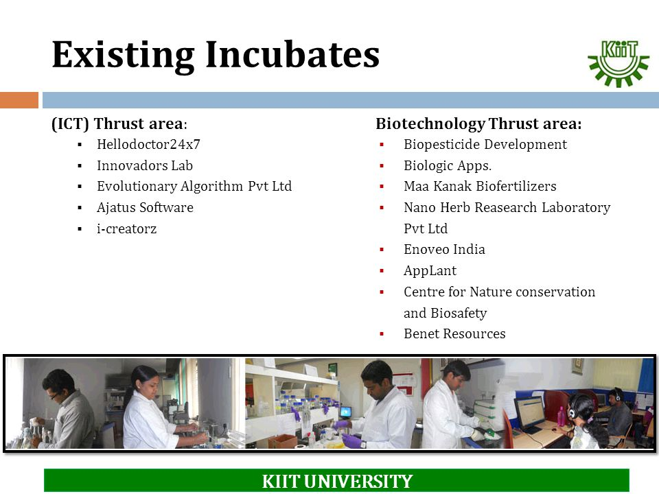 Existing Incubates KIIT UNIVERSITY (ICT) Thrust area: