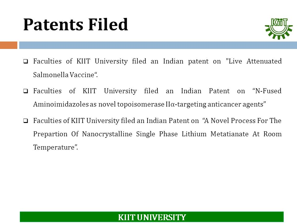 Patents Filed KIIT UNIVERSITY