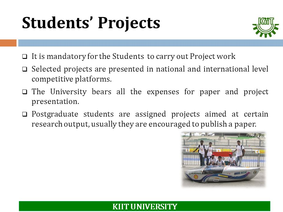 Students' Projects KIIT UNIVERSITY