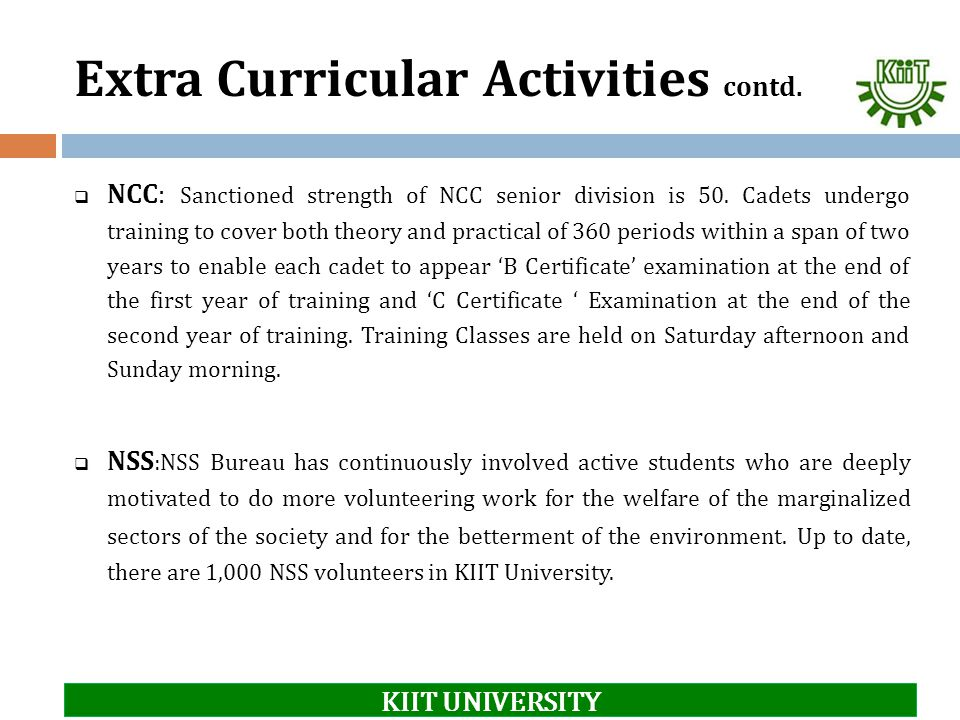 Extra Curricular Activities contd.