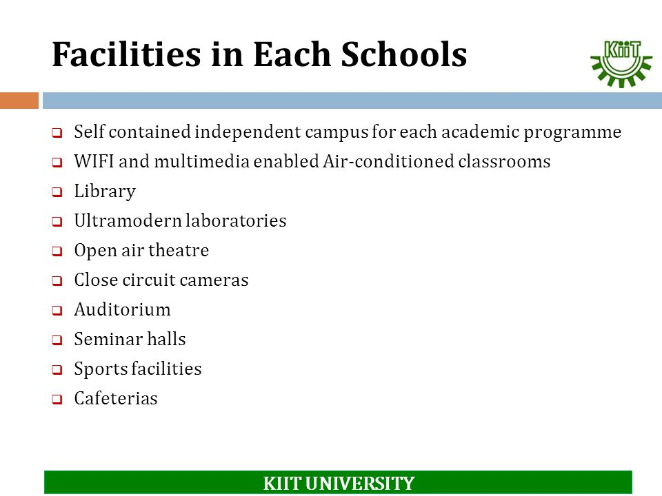Facilities in Each Schools