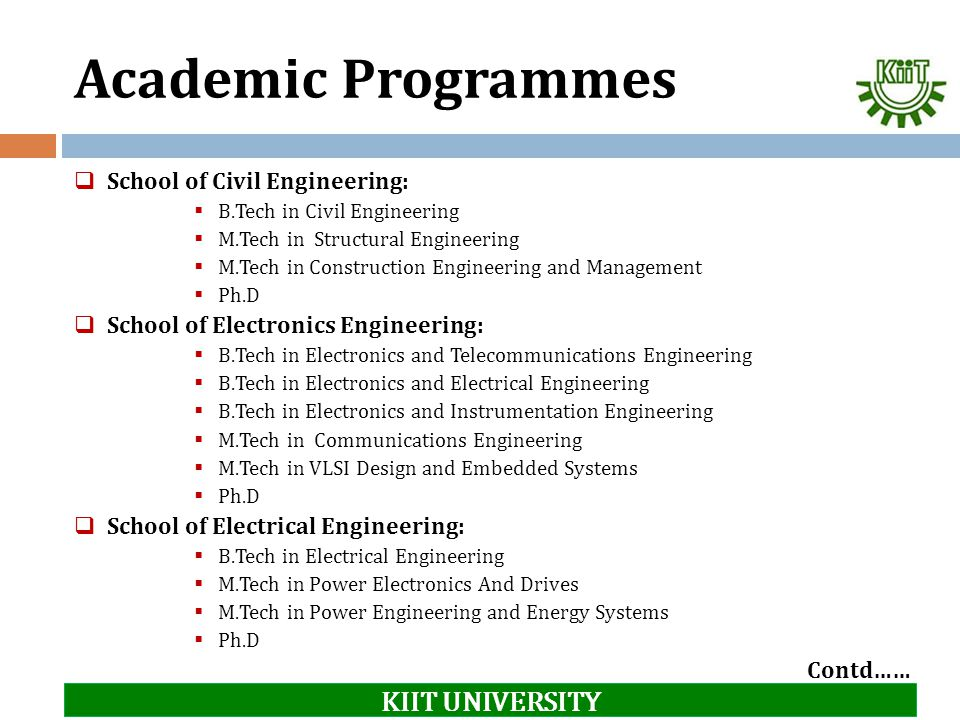 Academic Programmes KIIT UNIVERSITY School of Civil Engineering:
