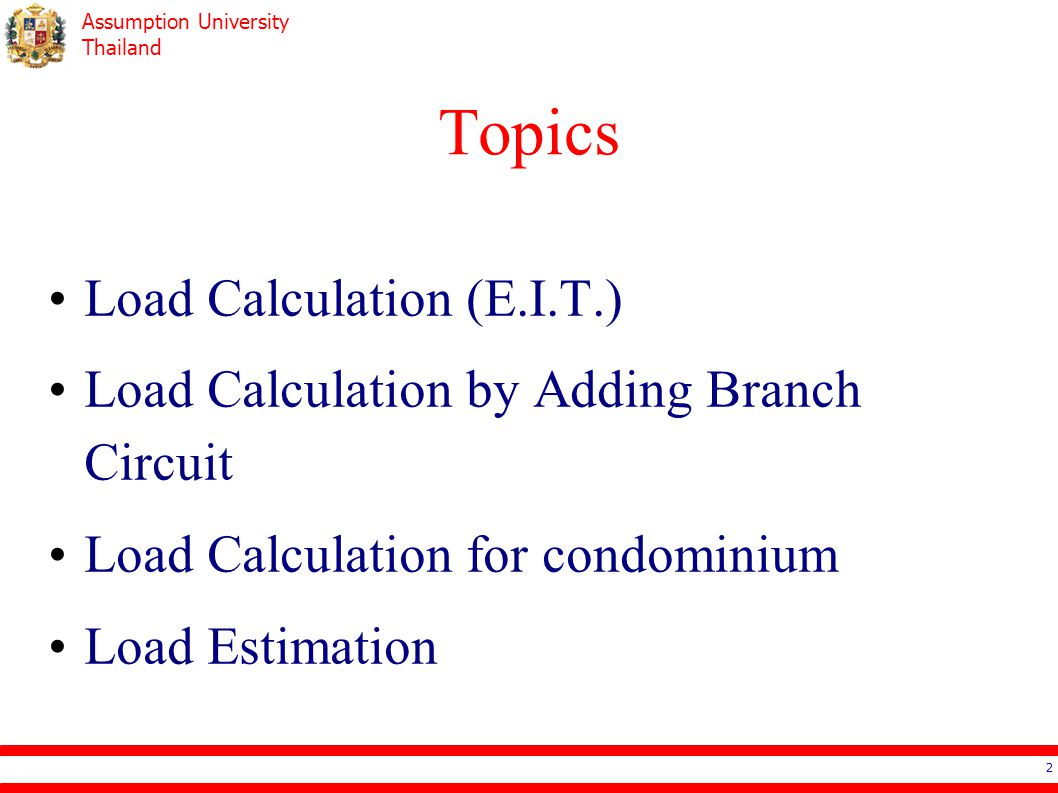 Topics Load Calculation (E.I.T.)