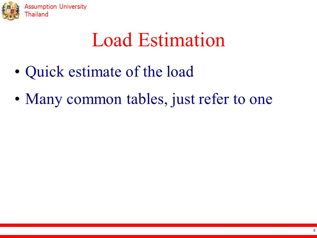Load Estimation Quick estimate of the load