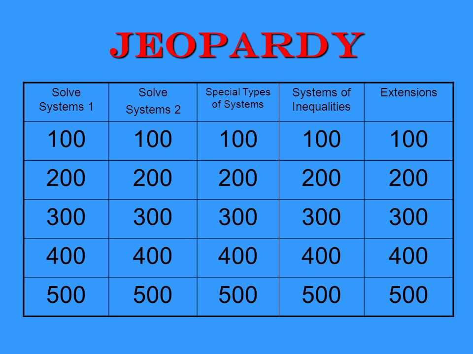 Jeopardy 100 200 300 400 500 Solve Systems 1 Solve Systems 2