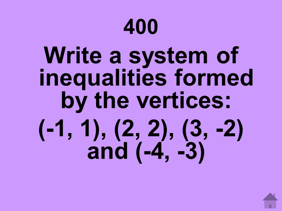 Write a system of inequalities formed by the vertices: