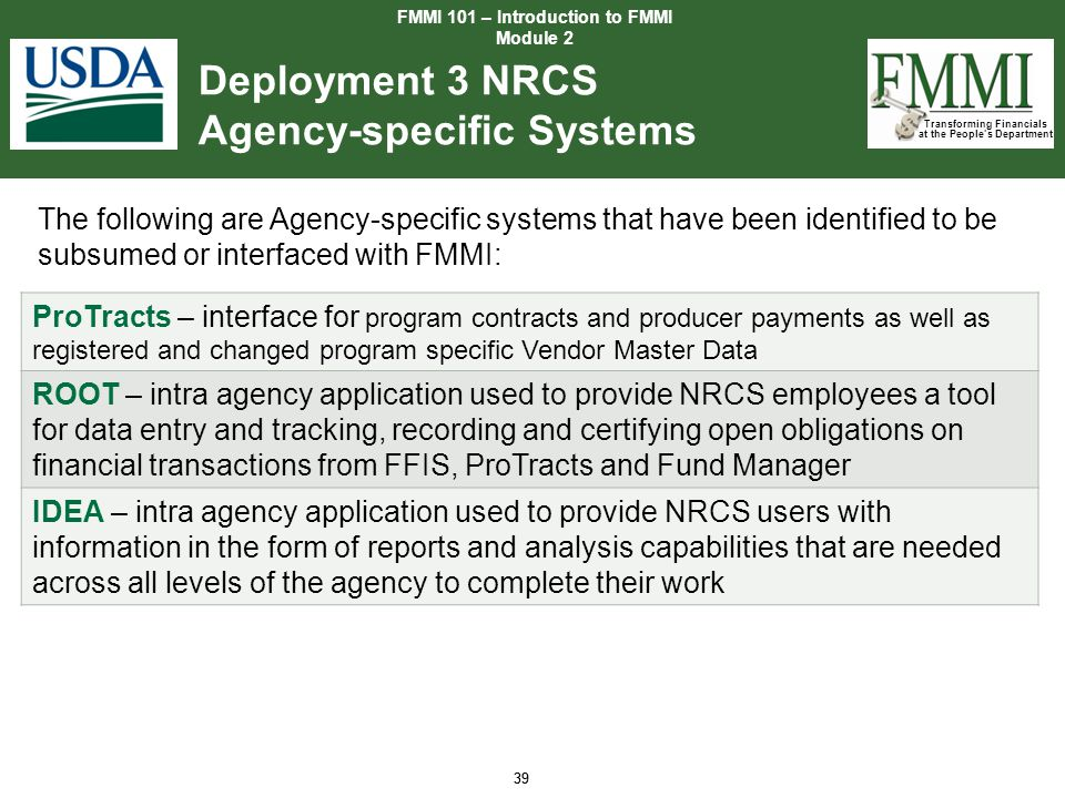 Deployment 3 NRCS Agency-specific Systems