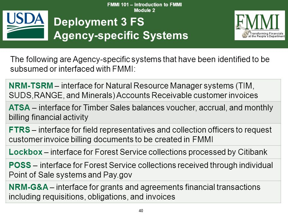Deployment 3 FS Agency-specific Systems
