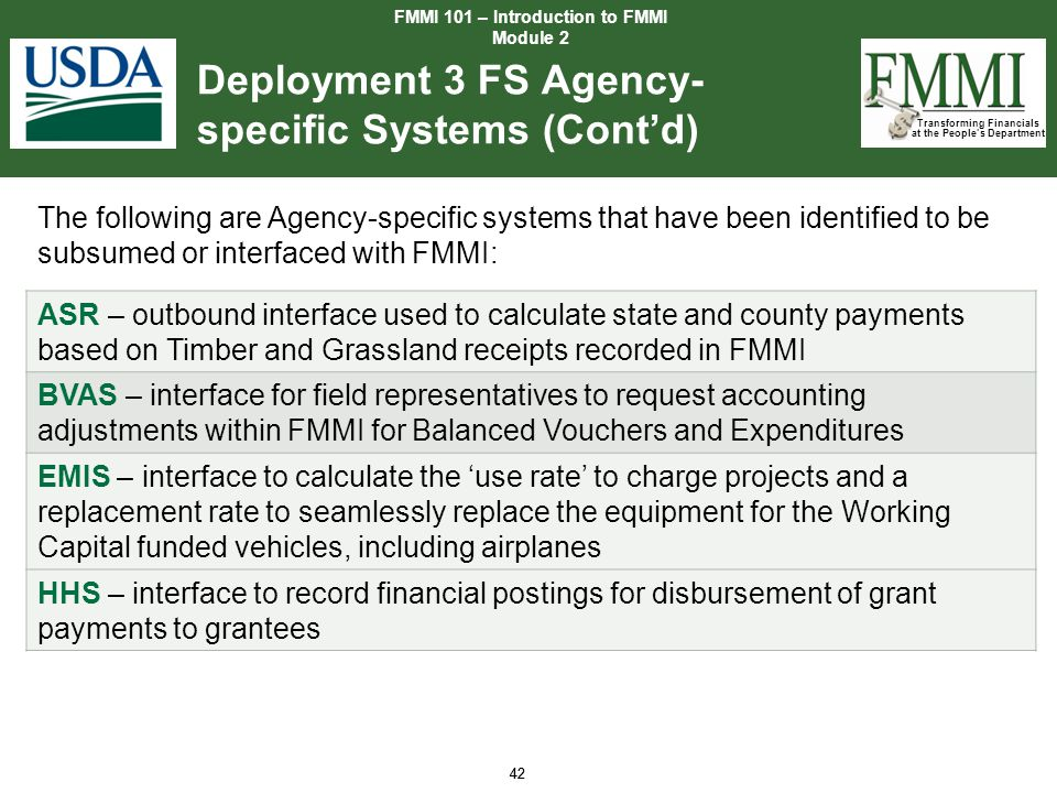 Deployment 3 FS Agency-specific Systems (Cont'd)