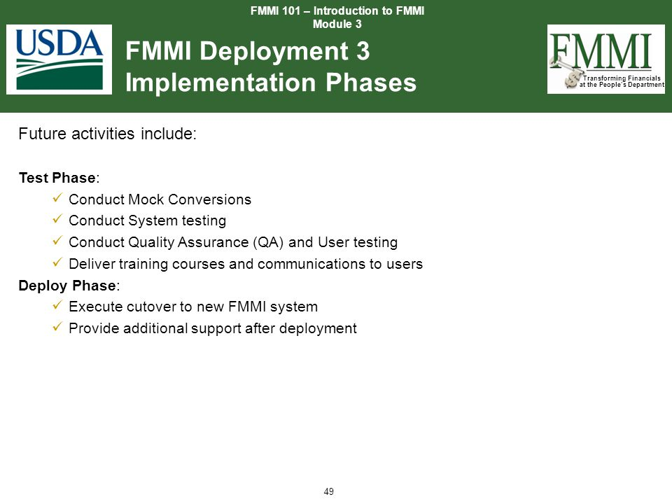 FMMI Deployment 3 Implementation Phases