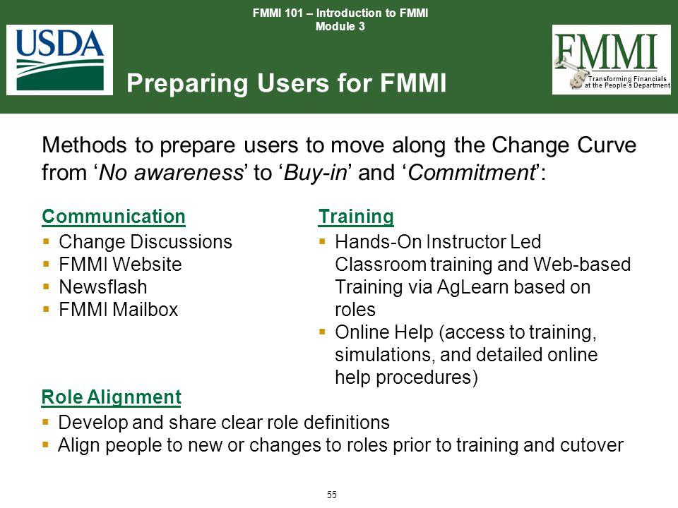 Preparing Users for FMMI