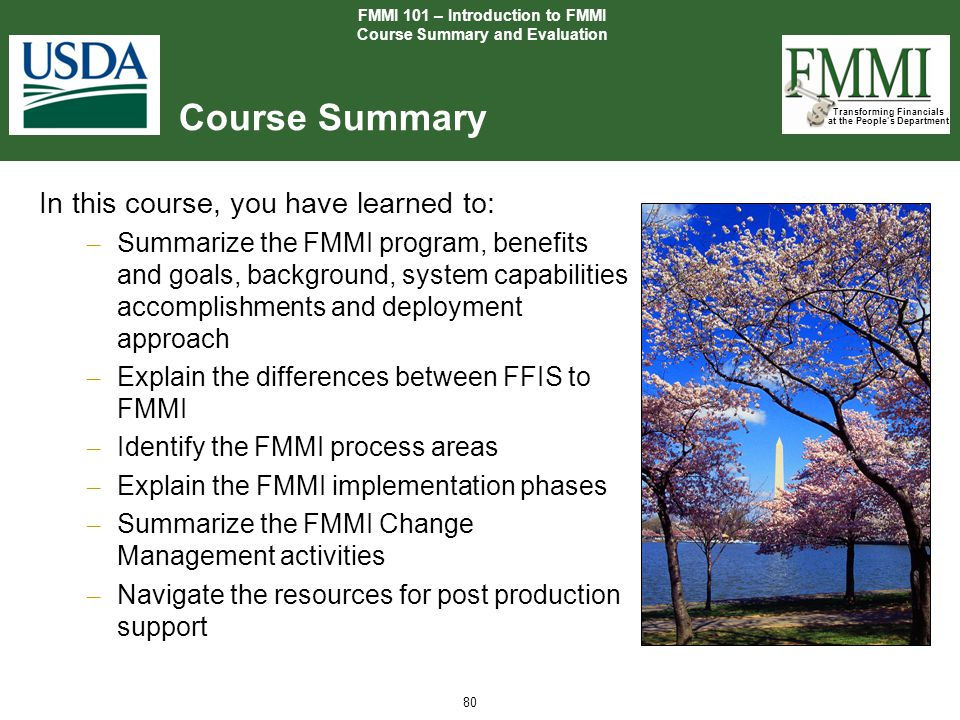 FMMI 101 – Introduction to FMMI Course Summary and Evaluation