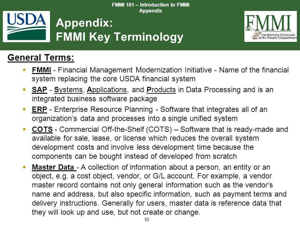Appendix: FMMI Key Terminology
