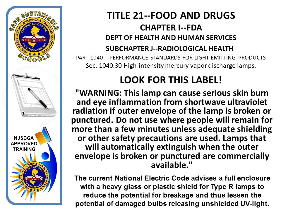 TITLE 21--FOOD AND DRUGS CHAPTER I--FDA DEPT OF HEALTH AND HUMAN SERVICES SUBCHAPTER J--RADIOLOGICAL HEALTH PART 1040 -- PERFORMANCE STANDARDS FOR LIGHT-EMITTING PRODUCTS Sec. 1040.30 High-intensity mercury vapor discharge lamps.