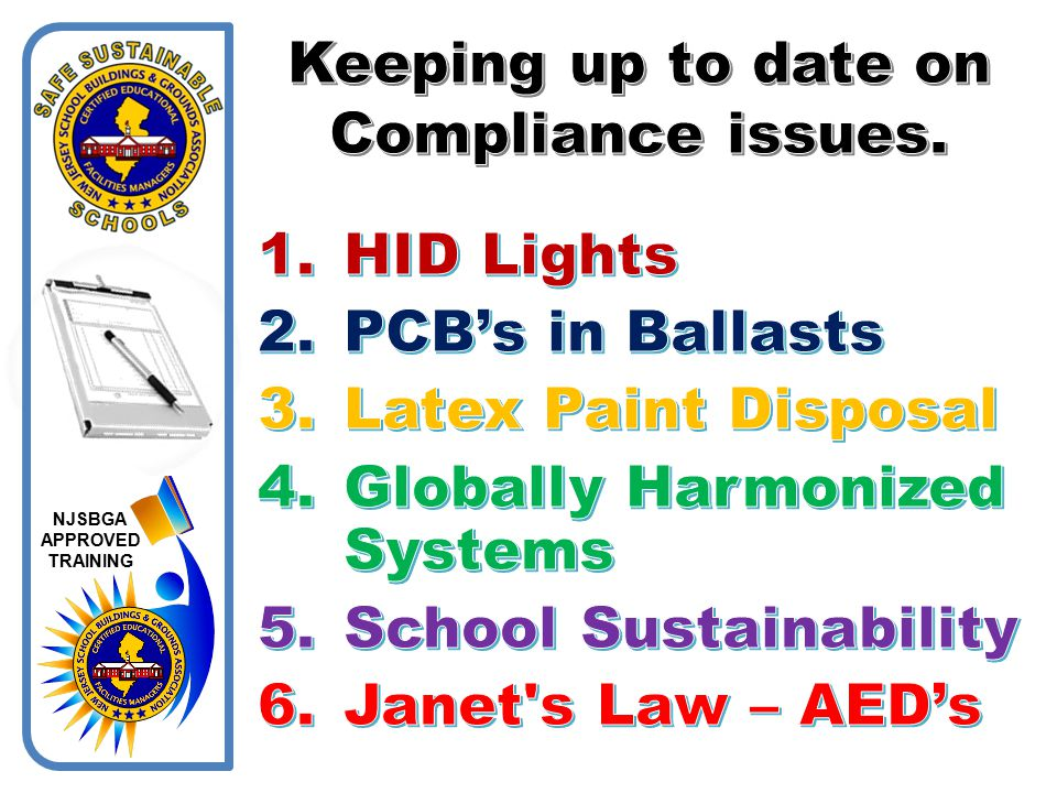 Keeping up to date on Compliance issues.
