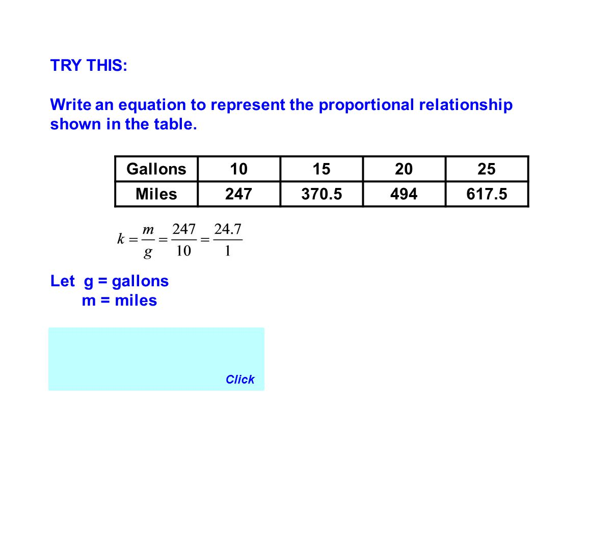 TRY THIS: Write an equation to represent the proportional relationship shown in the table. Let g = gallons.