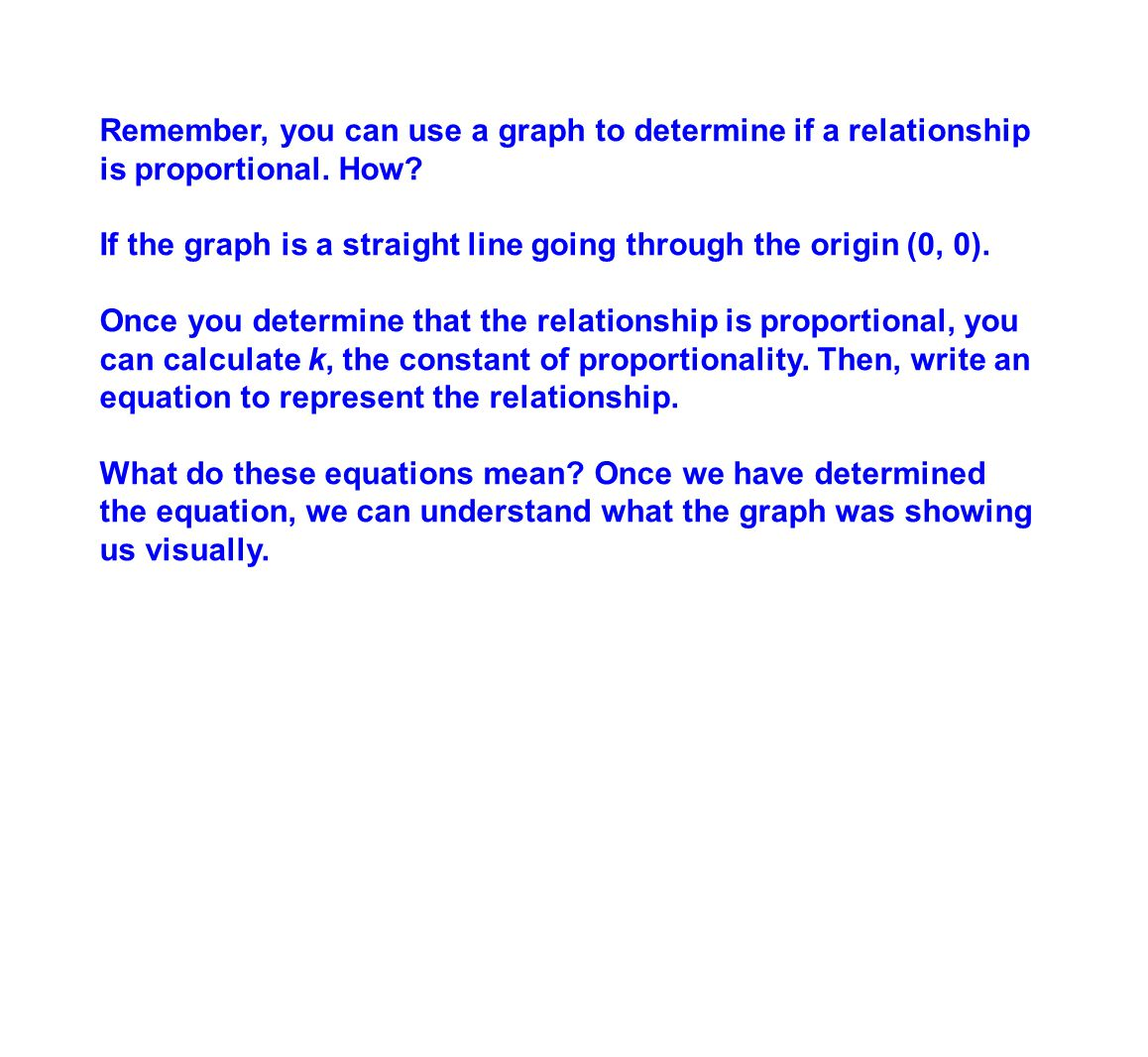 Remember, you can use a graph to determine if a relationship is proportional. How