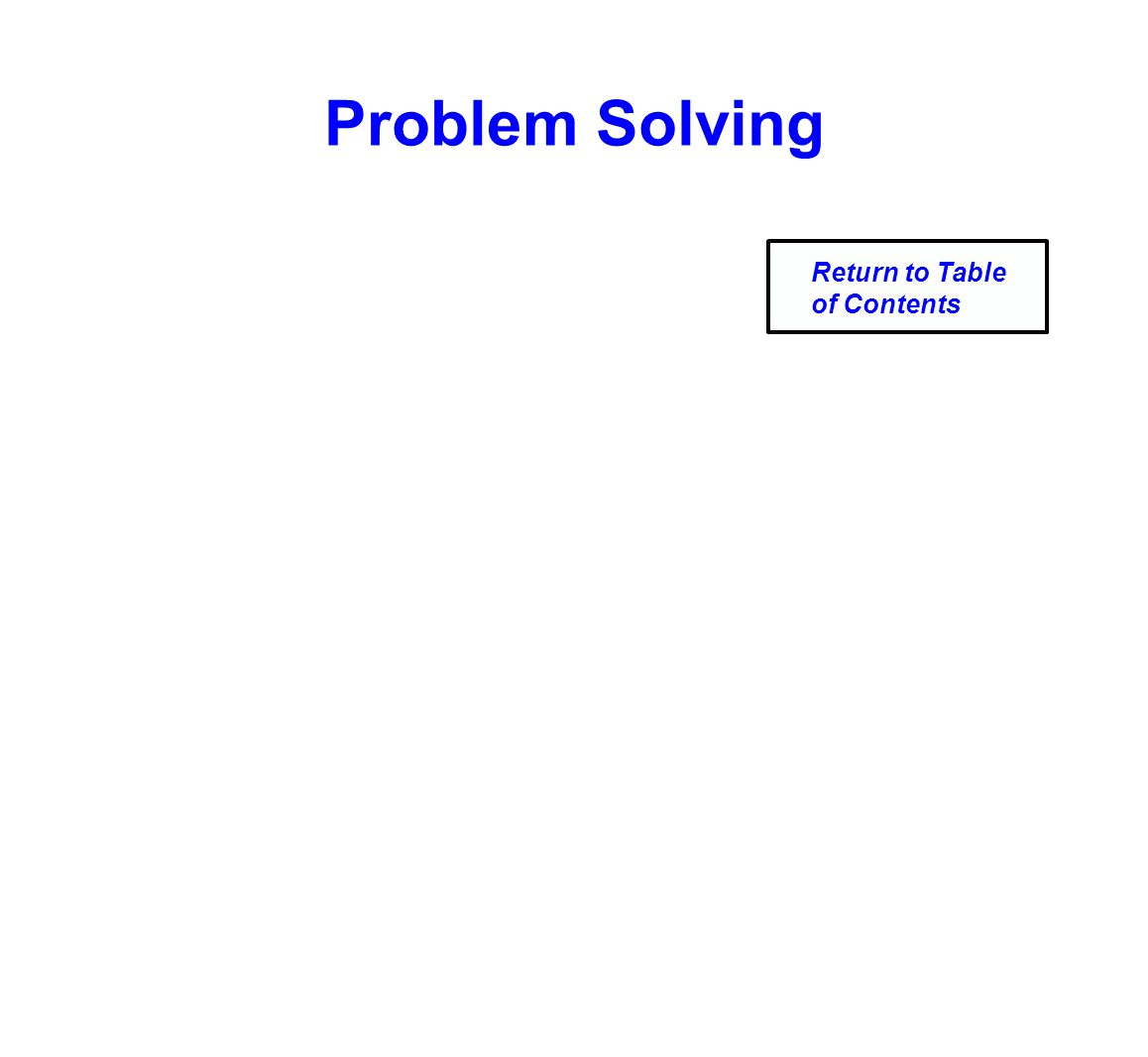 Problem Solving Return to Table of Contents
