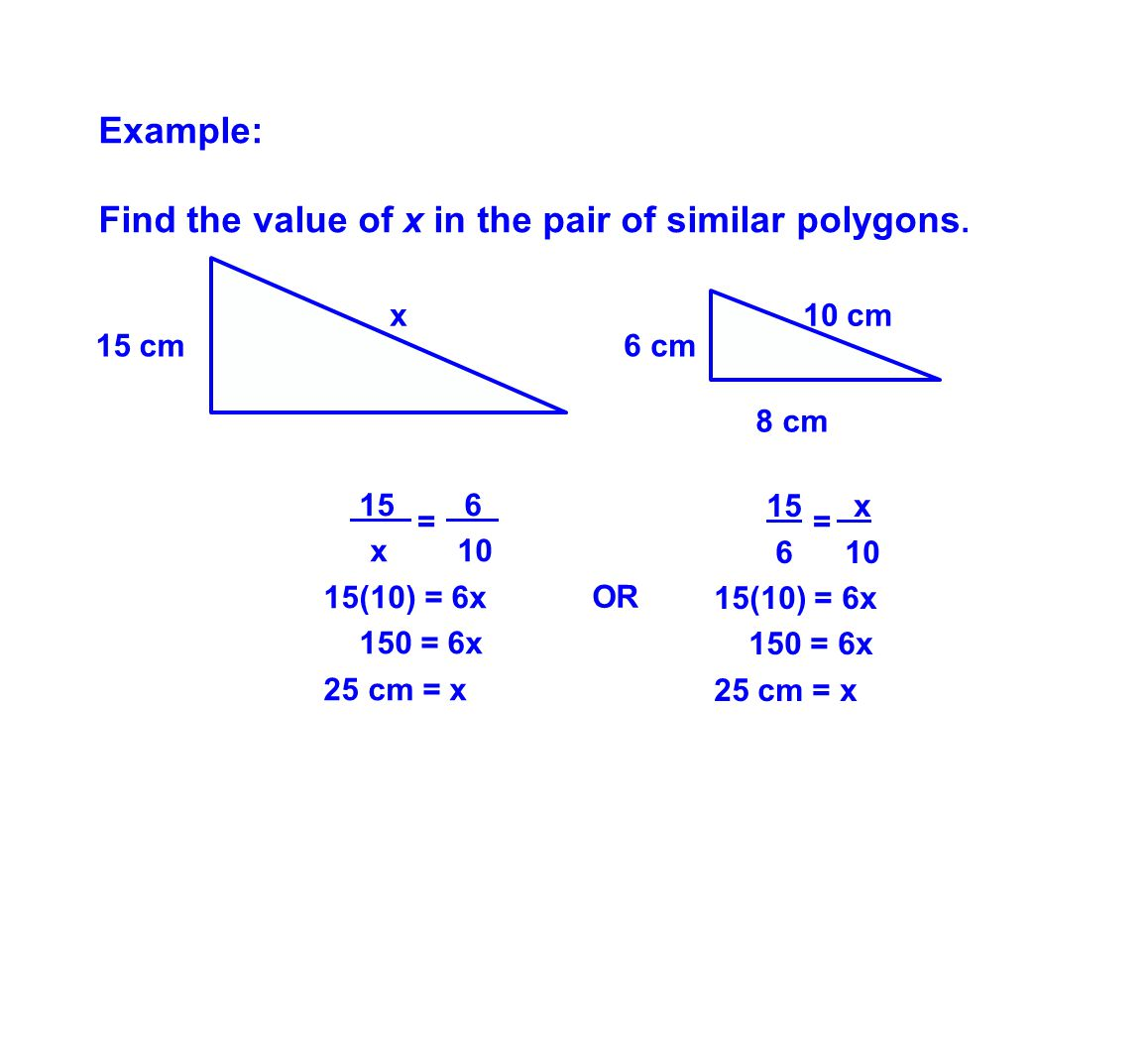 Find the value of x in the pair of similar polygons.