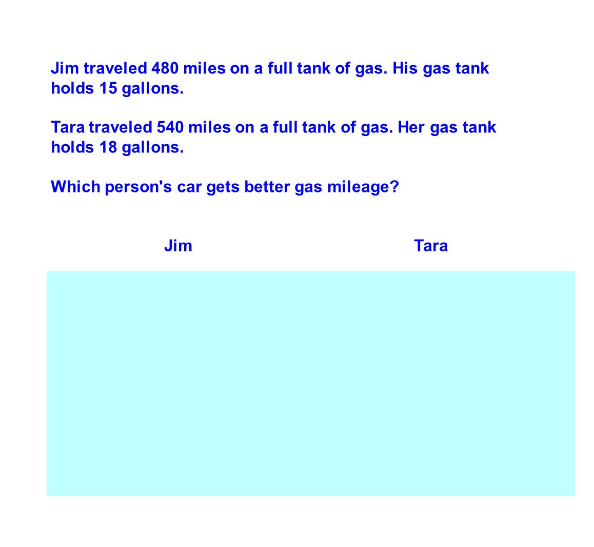 Jim traveled 480 miles on a full tank of gas