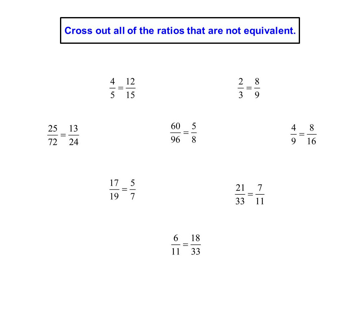 Cross out all of the ratios that are not equivalent.