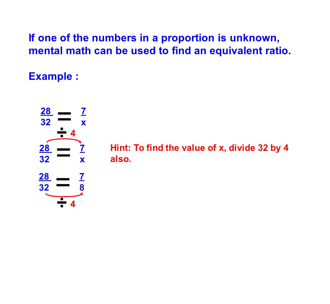If one of the numbers in a proportion is unknown, mental math can be used to find an equivalent ratio.