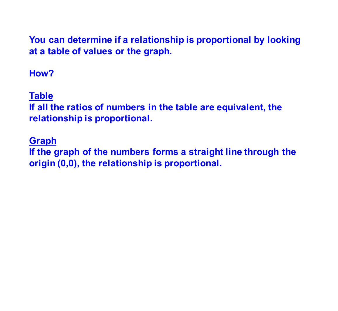 You can determine if a relationship is proportional by looking at a table of values or the graph.