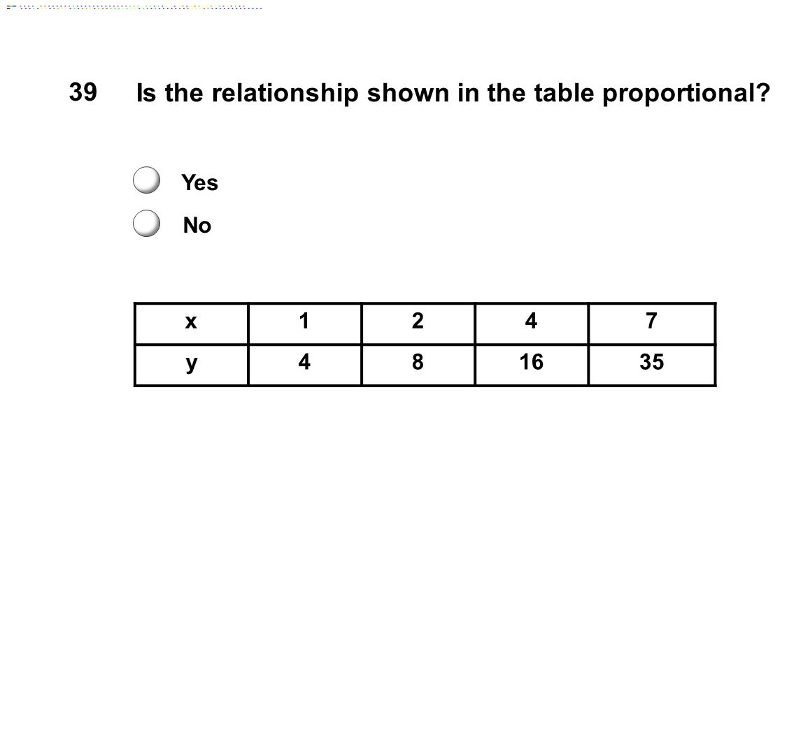 Is the relationship shown in the table proportional