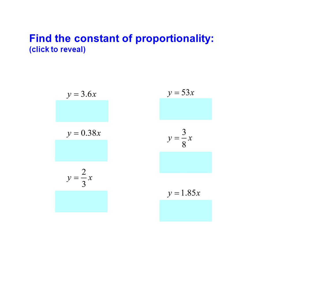 Find the constant of proportionality: