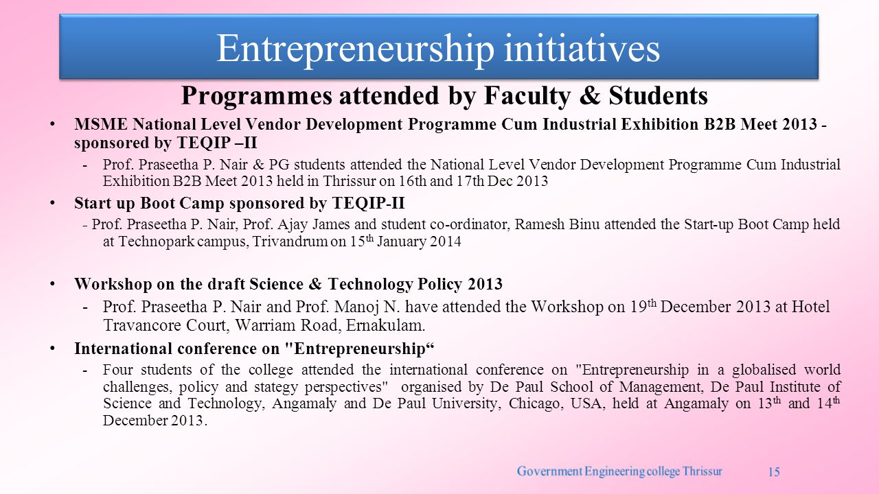 Entrepreneurship initiatives