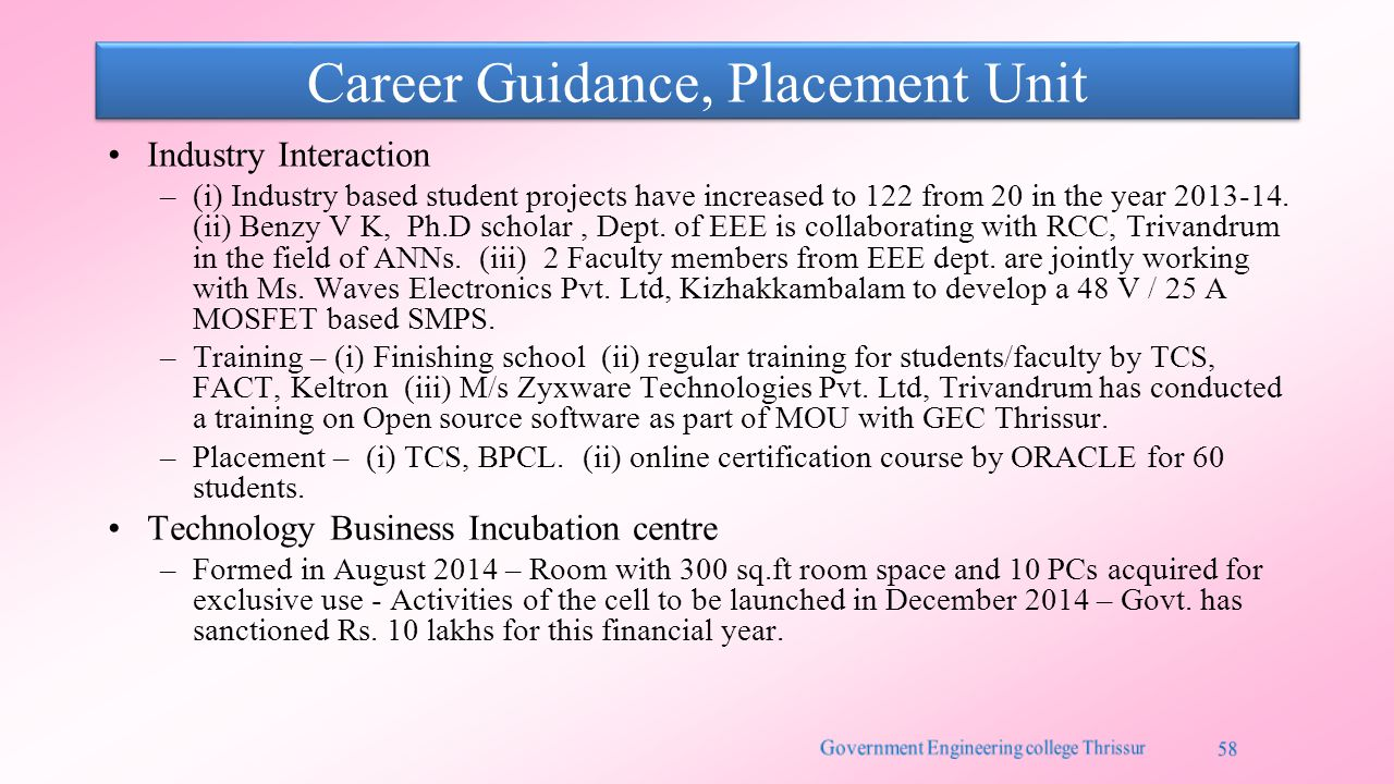 Career Guidance, Placement Unit