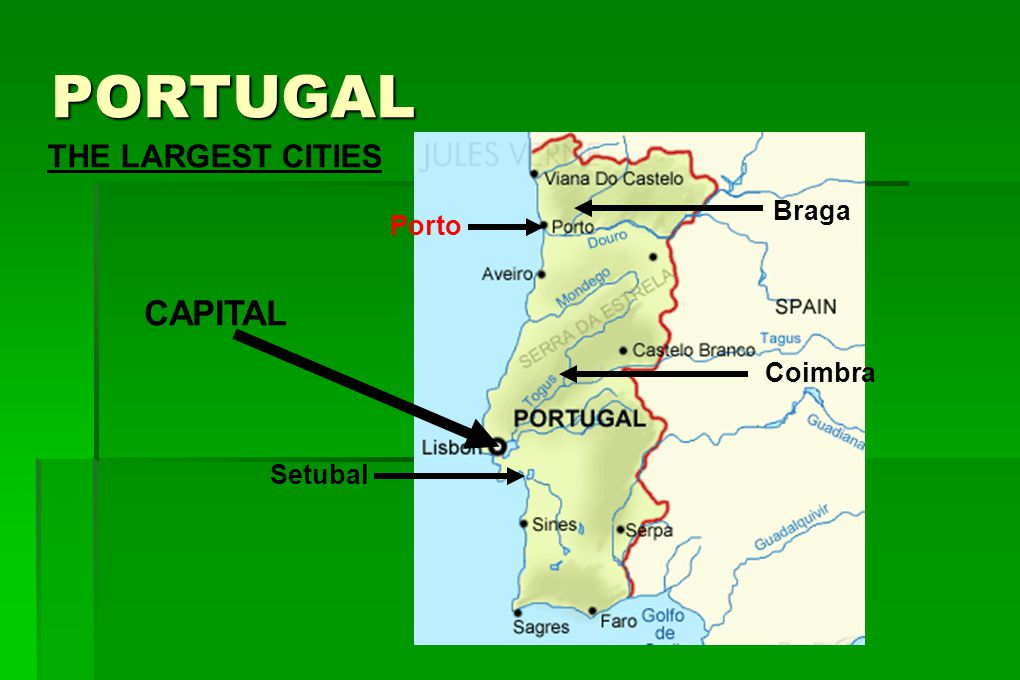 PORTUGAL THE LARGEST CITIES Braga Porto CAPITAL Coimbra Setubal