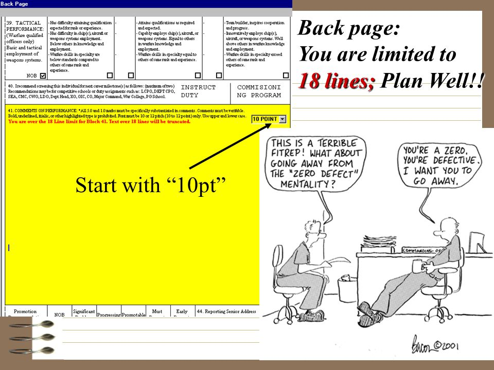 Back page: You are limited to 18 lines; Plan Well!! Start with 10pt