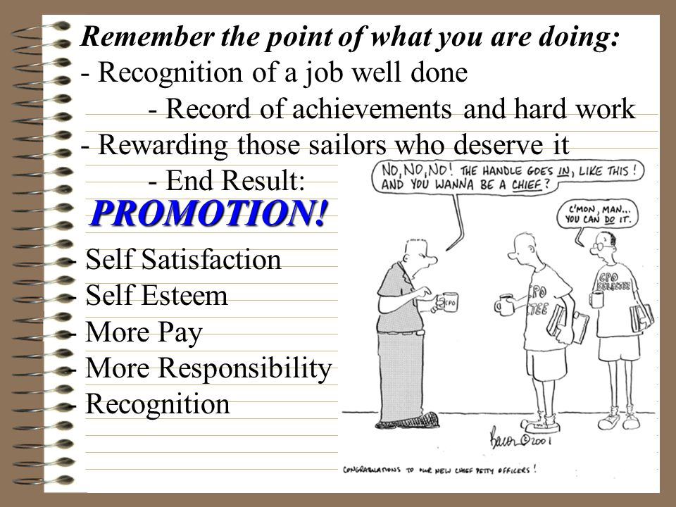 PROMOTION! Remember the point of what you are doing: